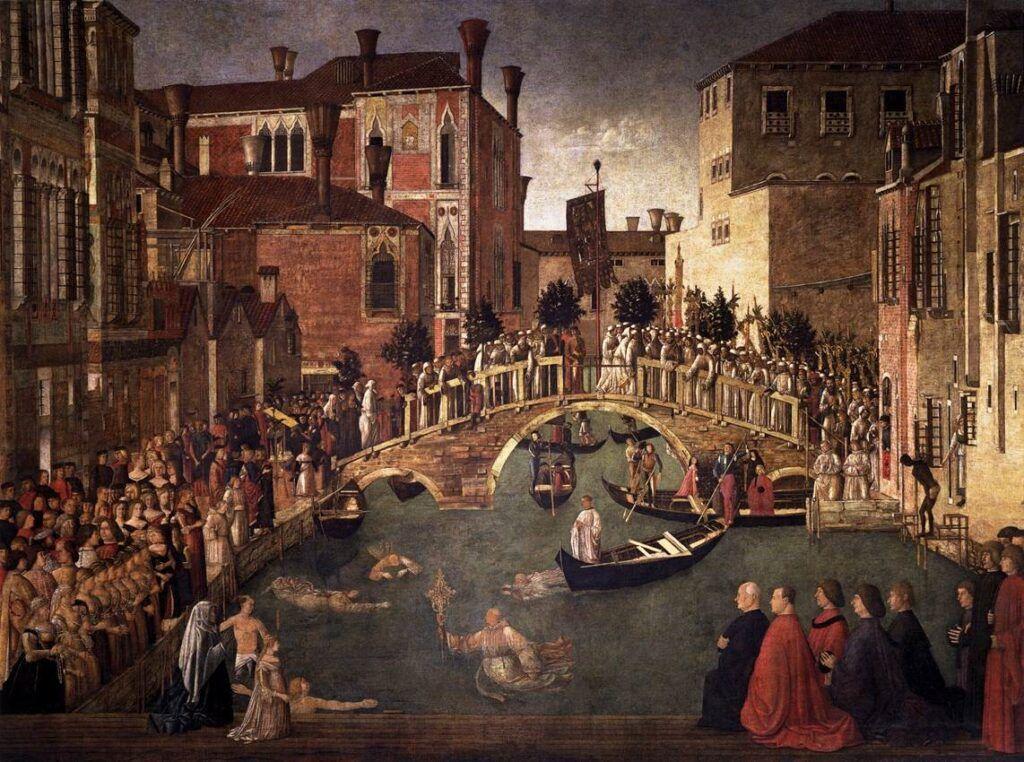 Maleriet Korsmirakelet ved San Lorenzo-broen av Gentile Bellini