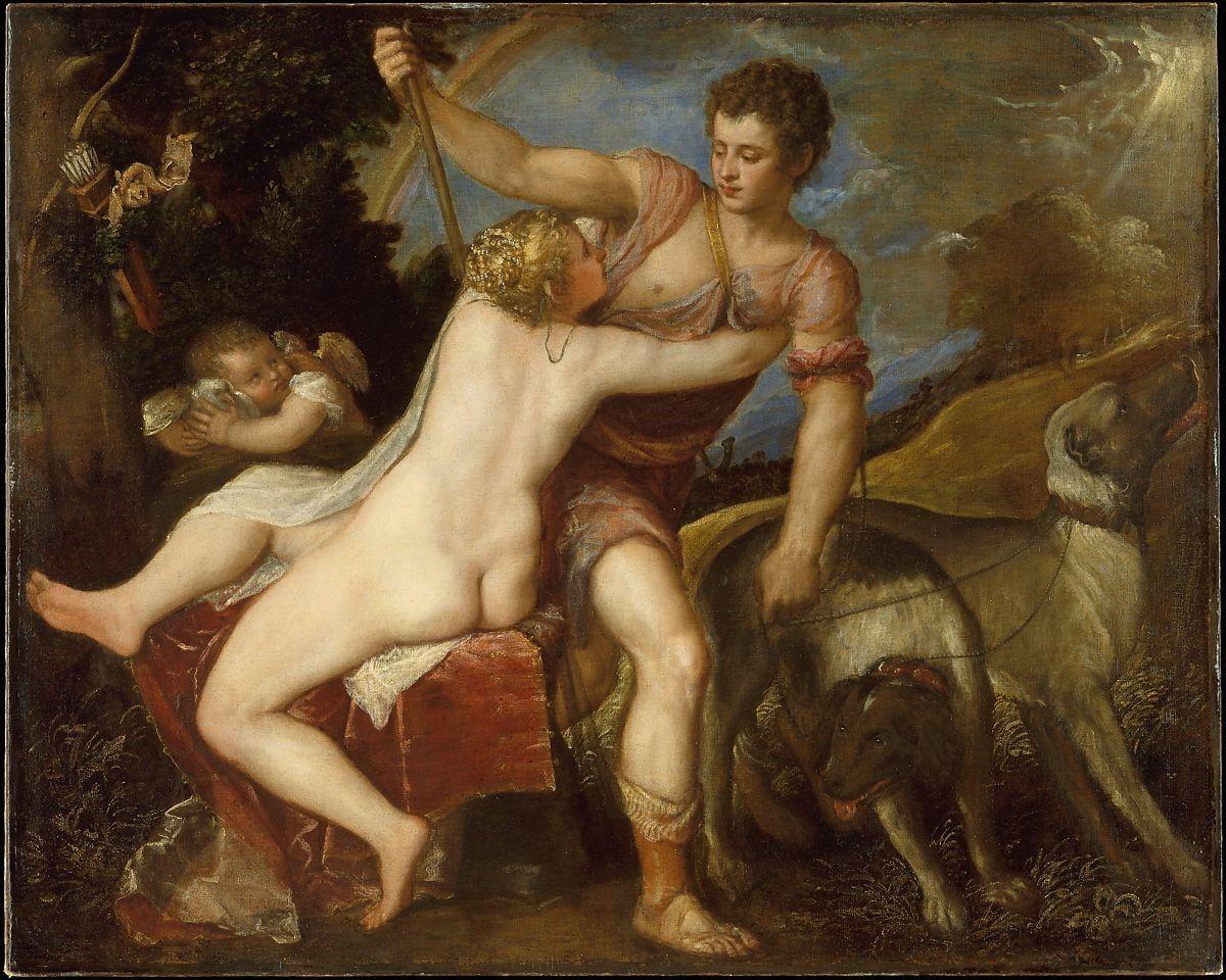 Venus og Adonis, maleri av Tizian, 1554